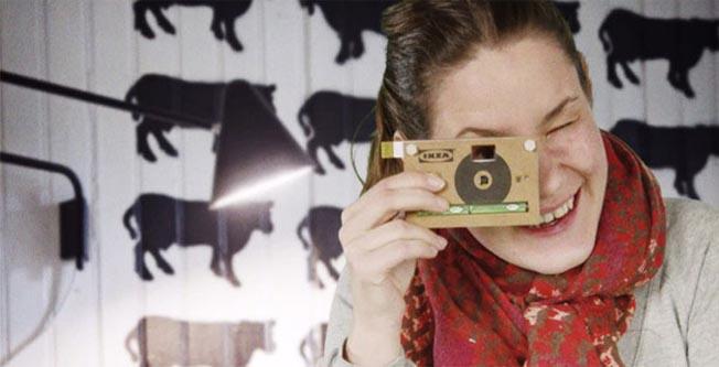 Fotografe com uma câmera digital feita de papelão