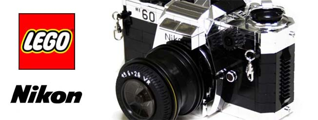 Réplica da câmera Nikon FE2 feita de Lego