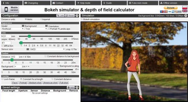 Simulador Profundidade de Campo - Efeito Bokeh